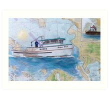 NIGHT SHIFT Crab Fishing Boat Cathy Peek Nautical Chart Map Art Print
