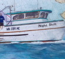 NIGHT SHIFT Crab Fishing Boat Cathy Peek Nautical Chart Map Sticker