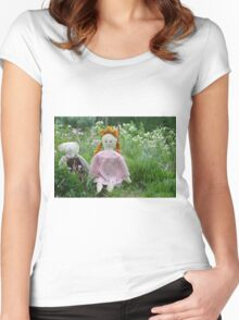 Margret and Rabbit Rag Doll #1 Women's Fitted Scoop T-Shirt