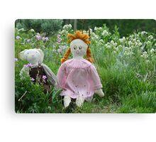 Margret and Rabbit Rag Doll #1 Canvas Print