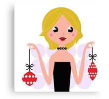New in shop : Stylish vintage Xmas girl / Original illustration Canvas Print