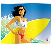 Girl with a surfboard Poster