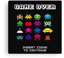Space Invaders Arcade Game Over Canvas Print