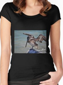 Pelican Practicing the Crane Pose from the Karate Kid  Women's Fitted Scoop T-Shirt