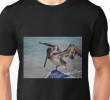 Pelican Practicing the Crane Pose from the Karate Kid  Unisex T-Shirt
