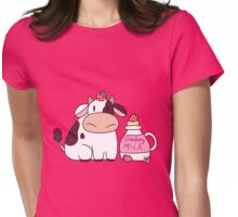 Strawberry Milk Cow Womens Fitted T-Shirt