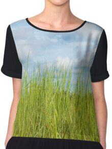 Grass and cloudy sky Chiffon Top