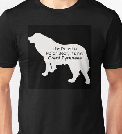 Polar Bear Pyrenees - white on black Unisex T-Shirt