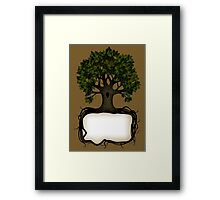 Banner with a tree Framed Print