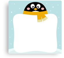 Winter penguin with blank banner / Christmas edition Canvas Print