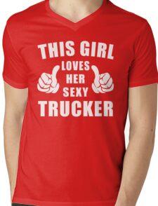 This Girl Loves Her Sexy Trucker Shirt Mens V-Neck T-Shirt