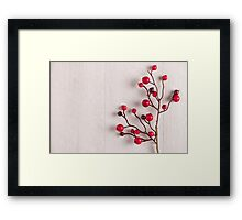 Red berries holly on white Framed Print