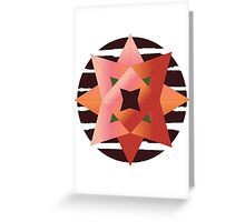Abstract Rose with Brown Stripes - Round Greeting Card