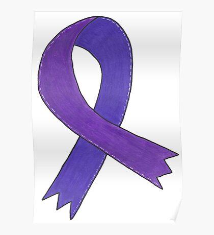 Medium Purple Awareness Ribbon Poster