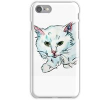 Super Sweet Fluffy White Kitty Watercolor by Pandora Fox  iPhone Case/Skin