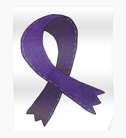 Dark Purple Awareness Ribbon Poster