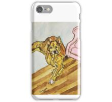 Watercolor Dog and Chair by Pandora Fox Art iPhone Case/Skin
