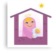 Nativity Bethlehem scene: Virgin Mary and Baby Jesus Canvas Print