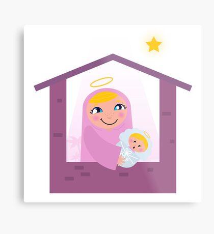 Nativity Bethlehem scene: Virgin Mary and Baby Jesus Metal Print