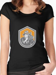 Photographer Vintage Camera Shield Retro Women's Fitted Scoop T-Shirt