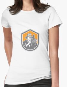 Photographer Vintage Camera Shield Retro Womens Fitted T-Shirt
