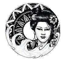 geisha girl mandala Photographic Print
