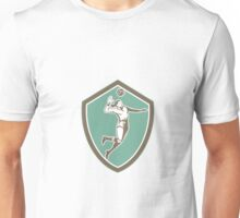 Volleyball Player Spiking Ball Shield Retro Unisex T-Shirt