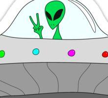 flying saucer peace alien Sticker