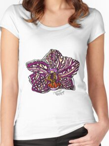Pink Striped Moth Orchid Women's Fitted Scoop T-Shirt