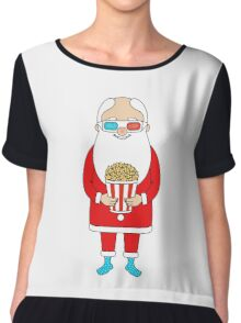 Santa Claus with popcorn and 3D glasses Chiffon Top