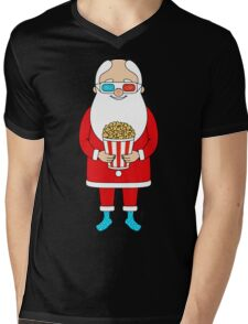 Santa Claus with popcorn and 3D glasses Mens V-Neck T-Shirt