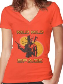 Wild Wild Space Bounty Hunter Women's Fitted V-Neck T-Shirt