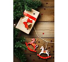 Christmas composition in traditional red and green colors Photographic Print
