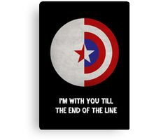 Cap and Bucky White Text Canvas Print