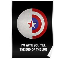 Cap and Bucky White Text Poster