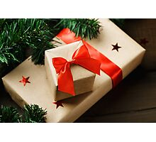 Christmas gifts wrapped in craft paper  Photographic Print