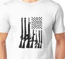 Big American Flag With Machine Guns black Unisex T-Shirt