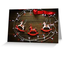 Festive Christmas composition on wooden background Greeting Card