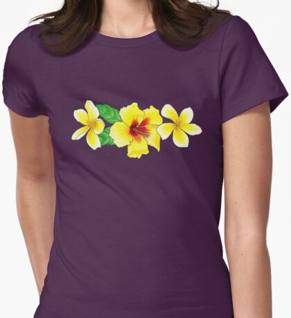 Hibiscus & Plumeria  Womens Fitted T-Shirt
