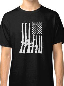 Big American Flag With Machine Guns white Classic T-Shirt