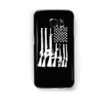 Big American Flag With Machine Guns white Samsung Galaxy Case/Skin