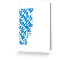 oktoberfest text flagge blau weiss muster party feiern design cool  Greeting Card
