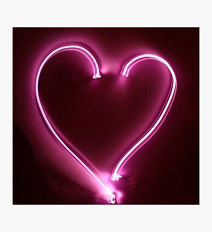 Neon Light Painting Heart Photographic Print