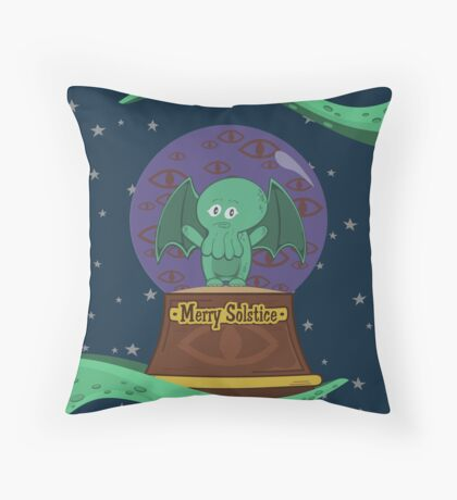Merry Solstice with Little Cthulhu Throw Pillow