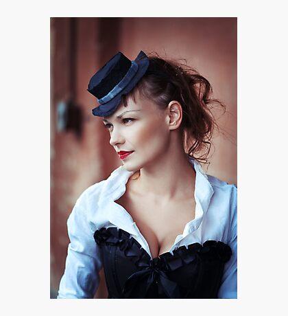 Vintage portrait of beautiful girl Photographic Print