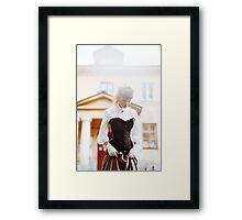 Beautiful woman in vintage dress Framed Print