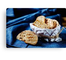 Fresh fried bread for bruschetta Canvas Print
