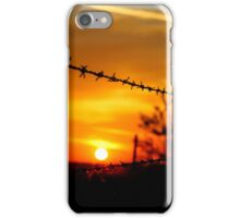 Barbed wire sunset (portrait) iPhone Case/Skin