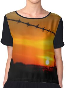 Barbed wire sunset (landscape) Chiffon Top