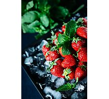 Ripe strawberry on ice with mint Photographic Print